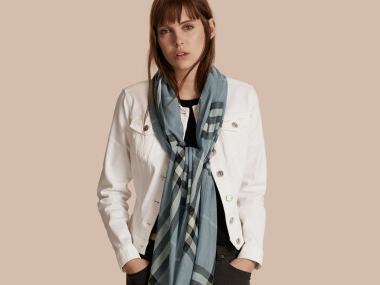 Lightweight Check Wool and Silk Scarf in Dusty Blue - Women | Burberry Canada - cell image 2