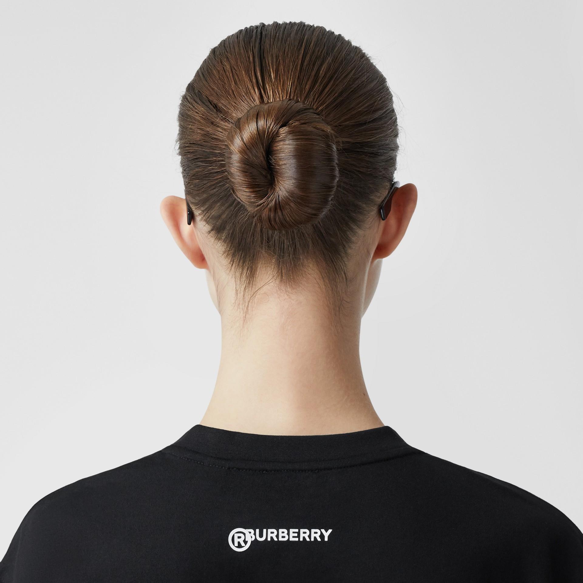 Love Slogan Cotton Oversized T-shirt in Black - Women | Burberry United Kingdom - gallery image 4