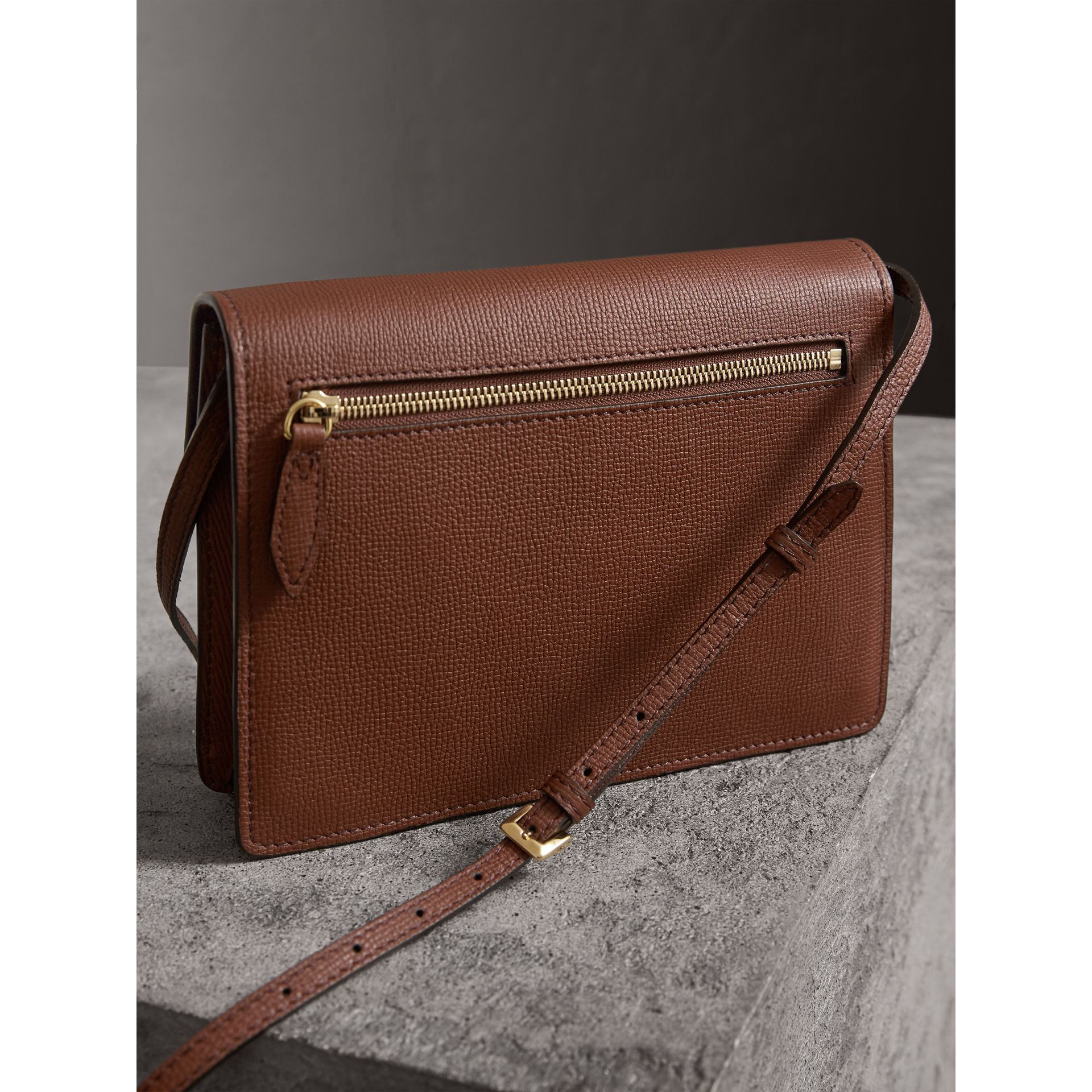 Small Leather and House Check Crossbody Bag in Tan - Women | Burberry - gallery image 4