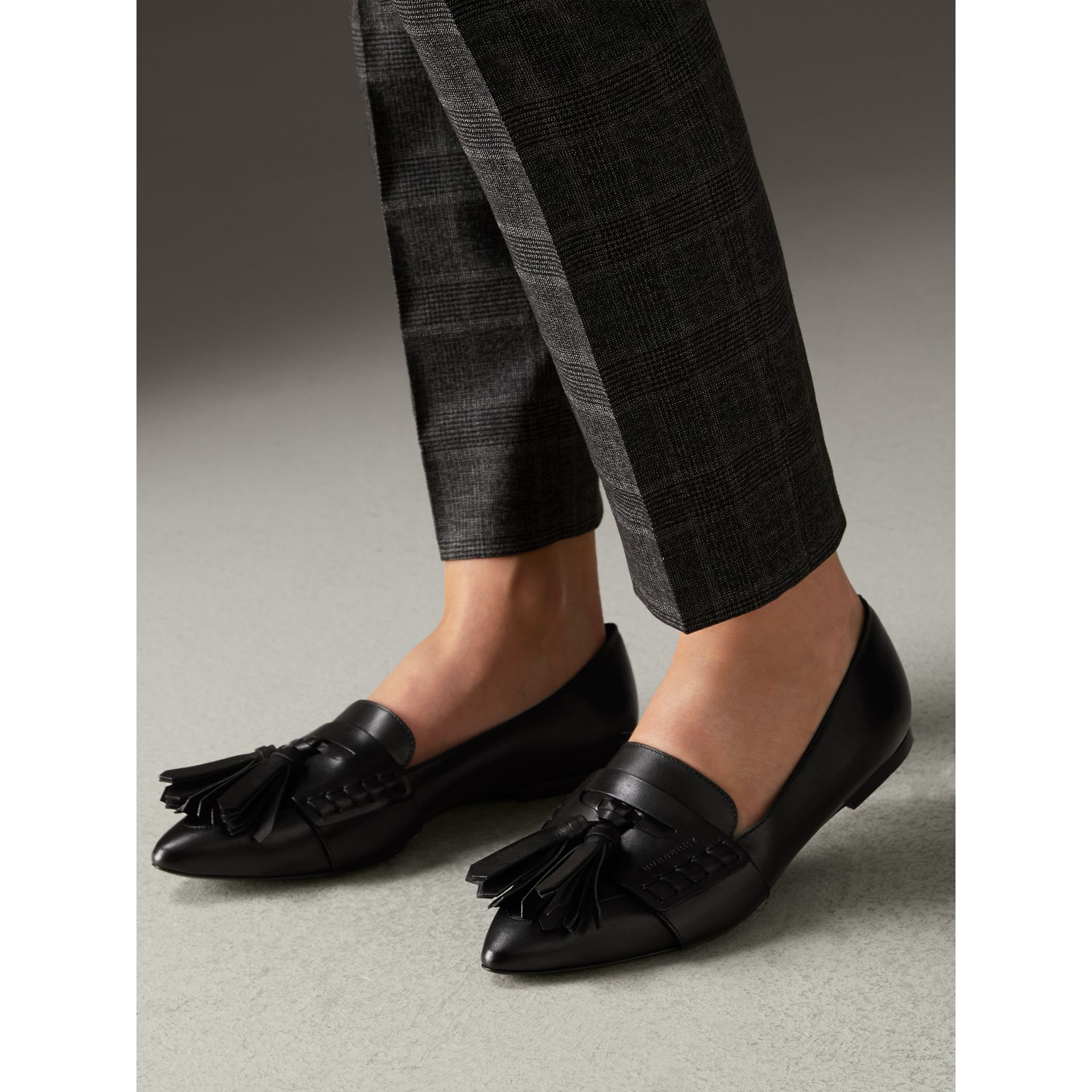 Tasselled Leather Loafers in Black - Women | Burberry - gallery image 2