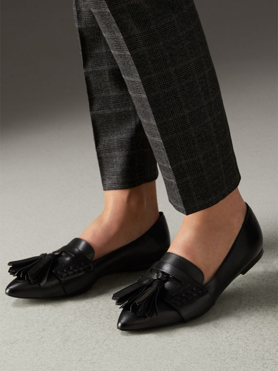 Tasselled Leather Loafers in Black - Women | Burberry - cell image 2
