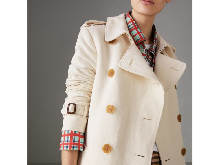 Cotton Linen Canvas Trench Coat in Off White - Women | Burberry - cell image 4