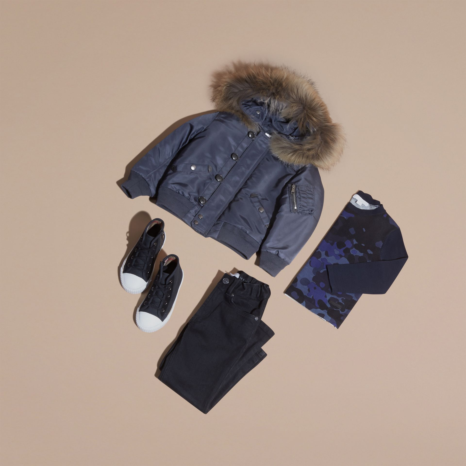 Navy Hooded Technical Twill Bomber Jacket with Fur Trim - gallery image 5