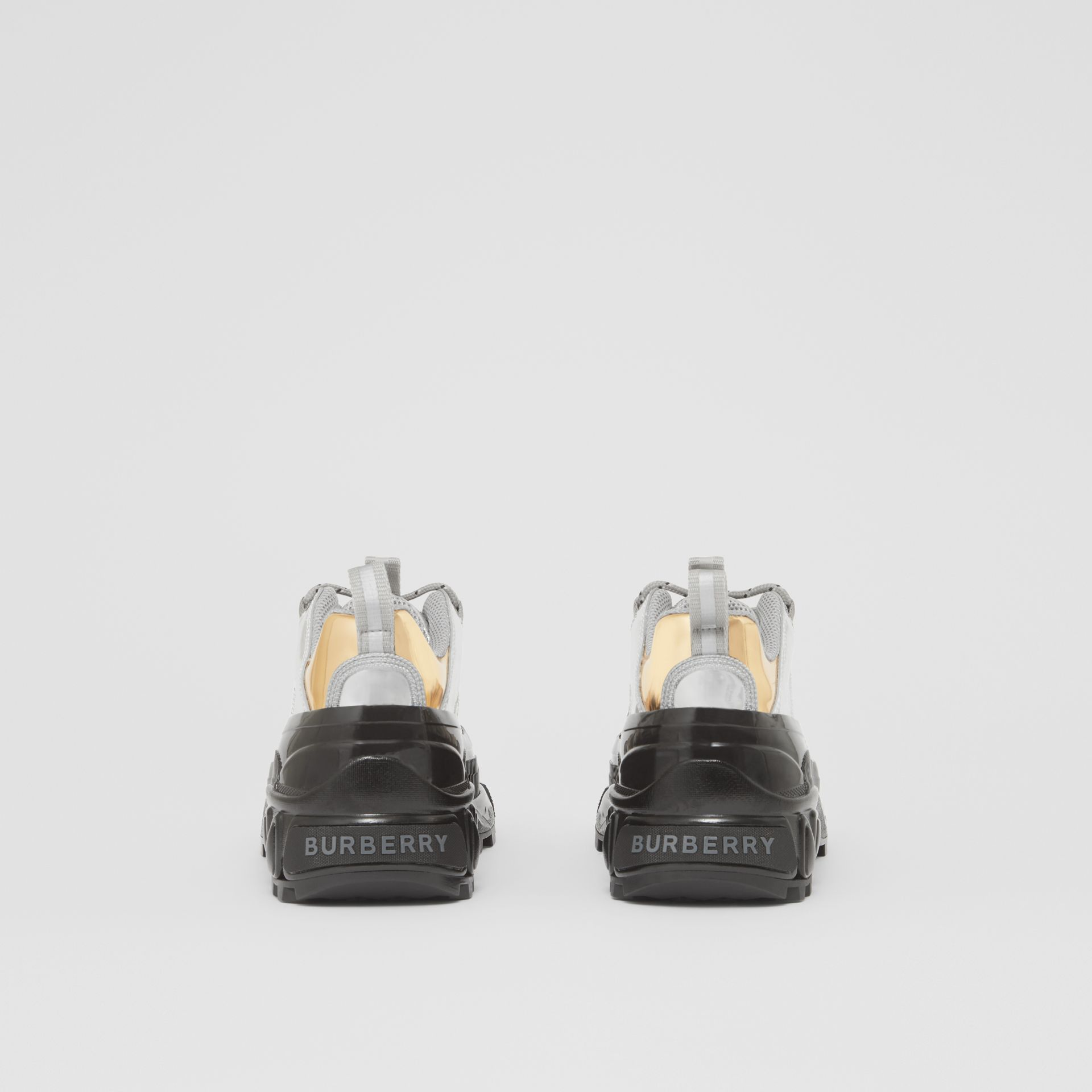 Two-tone Metallic Leather Arthur Sneakers in Silver/gold - Women   Burberry - gallery image 4