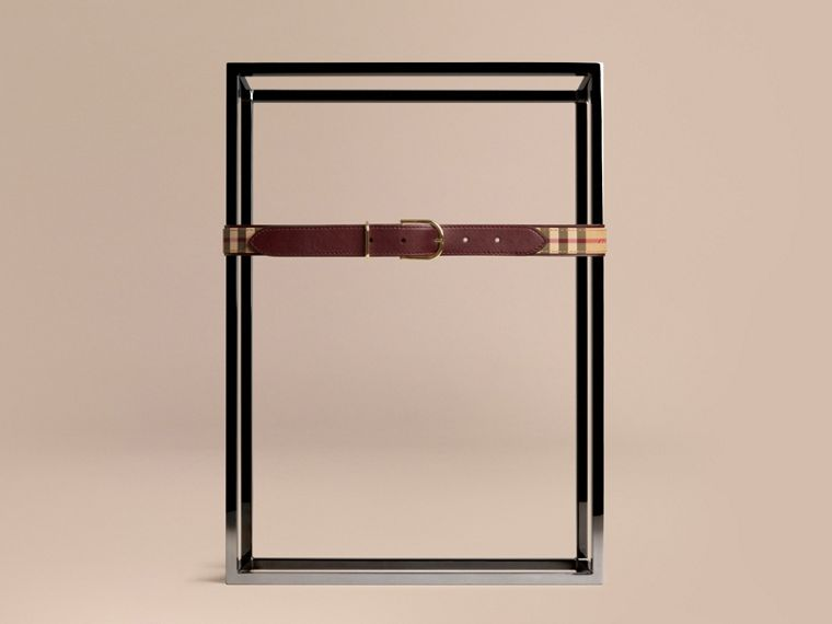 Horseferry Check and Leather Belt in Deep Claret - cell image 1