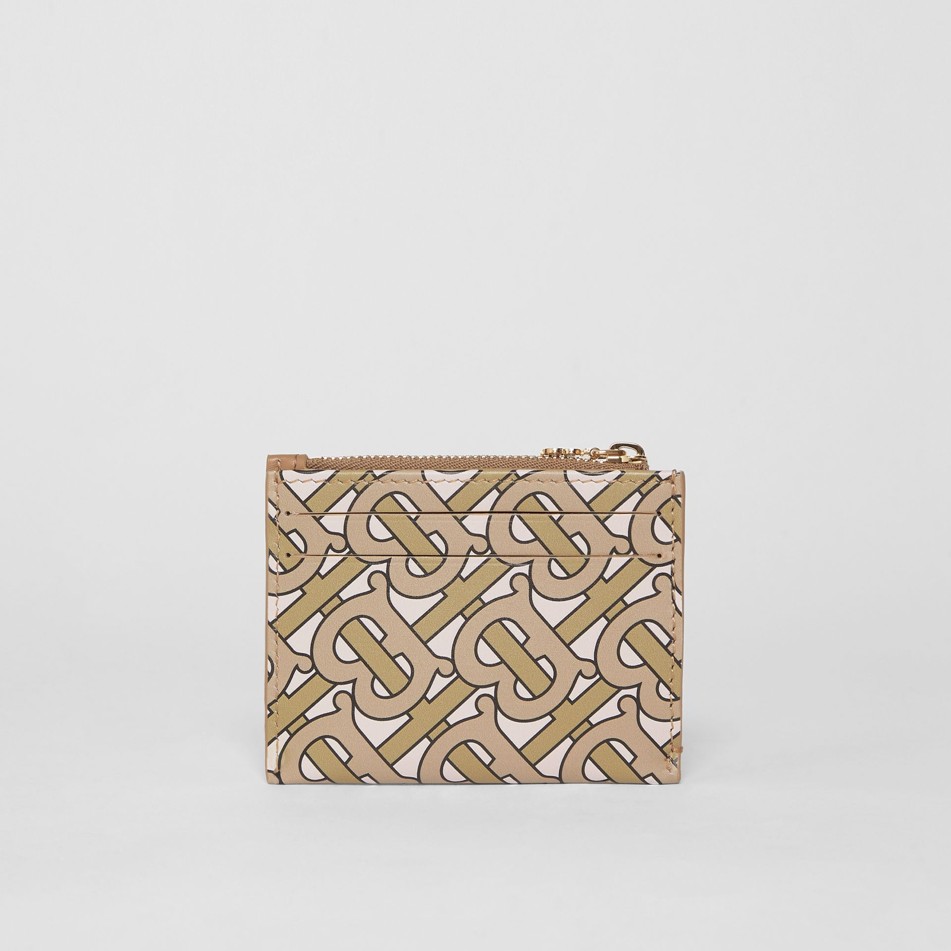Monogram Print Leather Zip Card Case in Beige - Women | Burberry Singapore - gallery image 4
