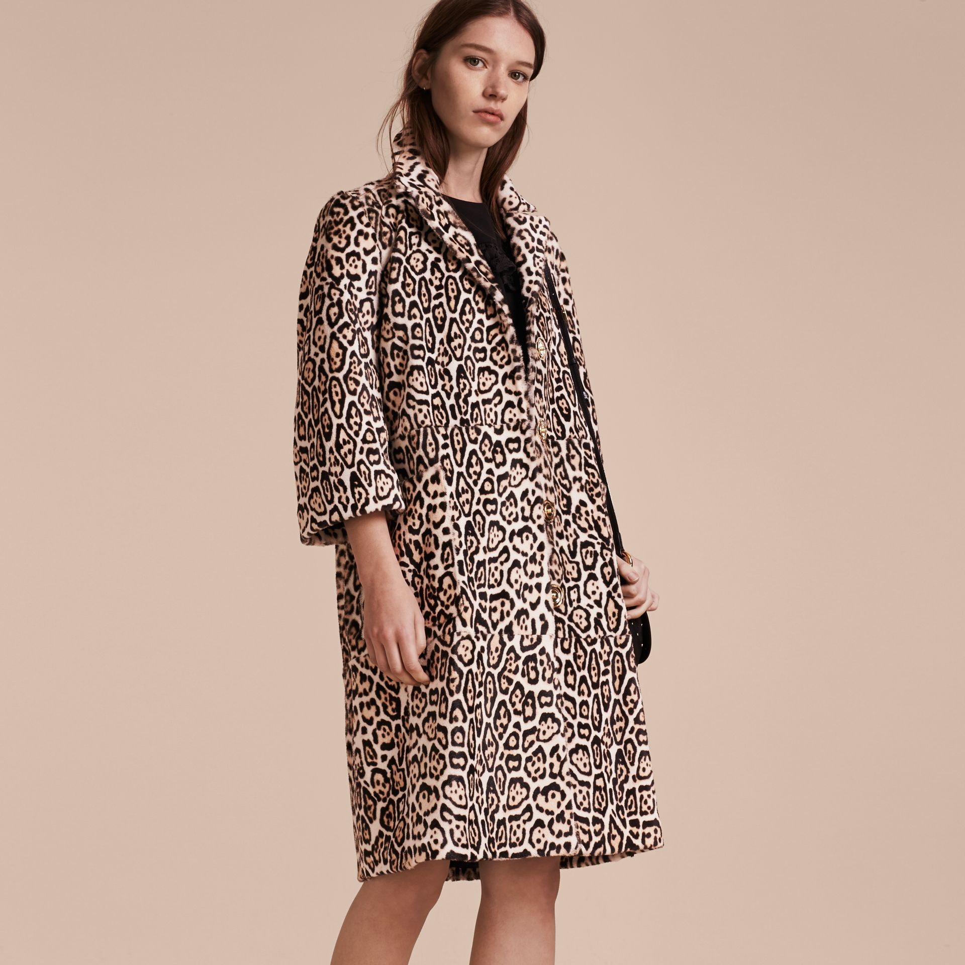 Camel Leopard Print Shearling Coat - gallery image 6