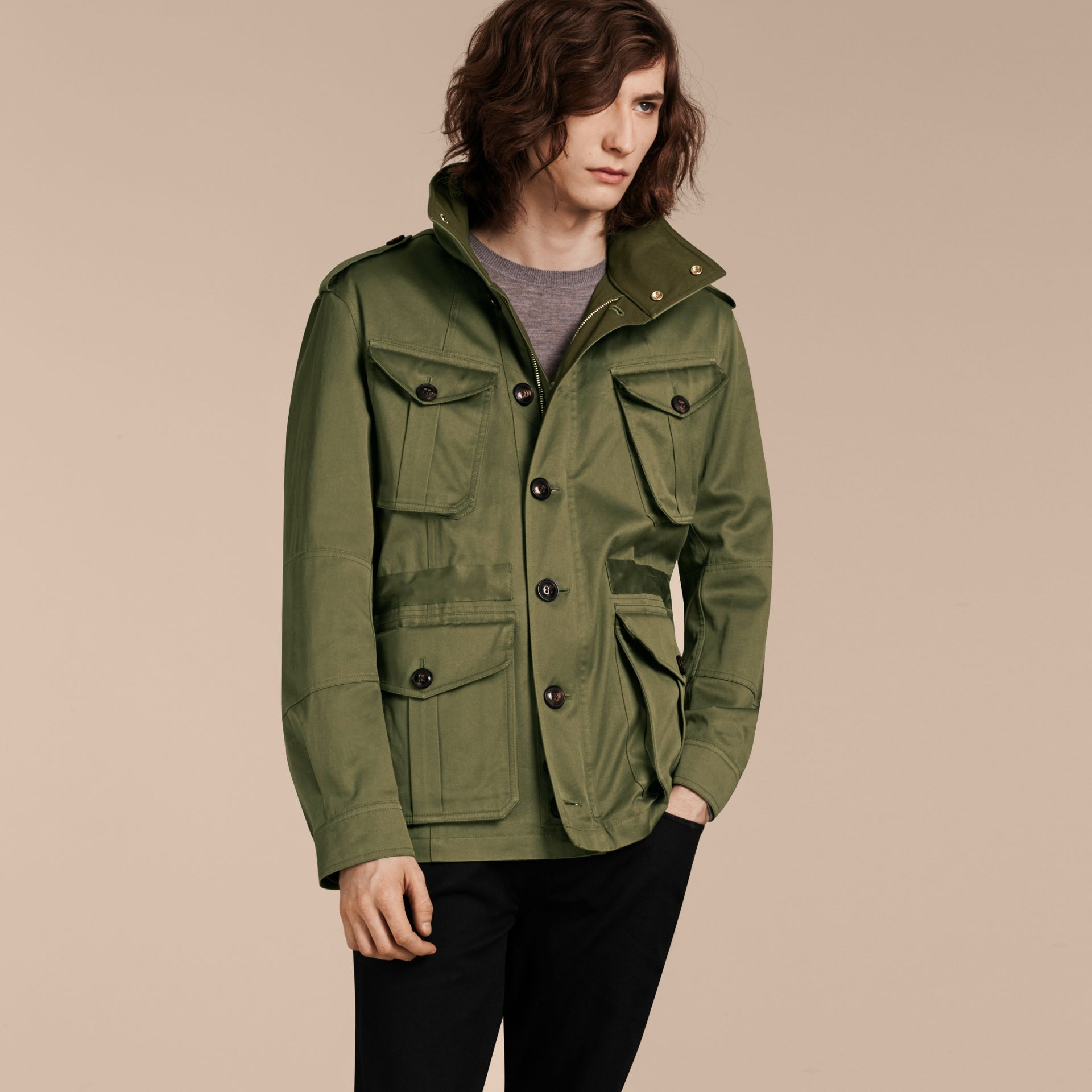 Olive Hooded Cotton Field Jacket - gallery image 7