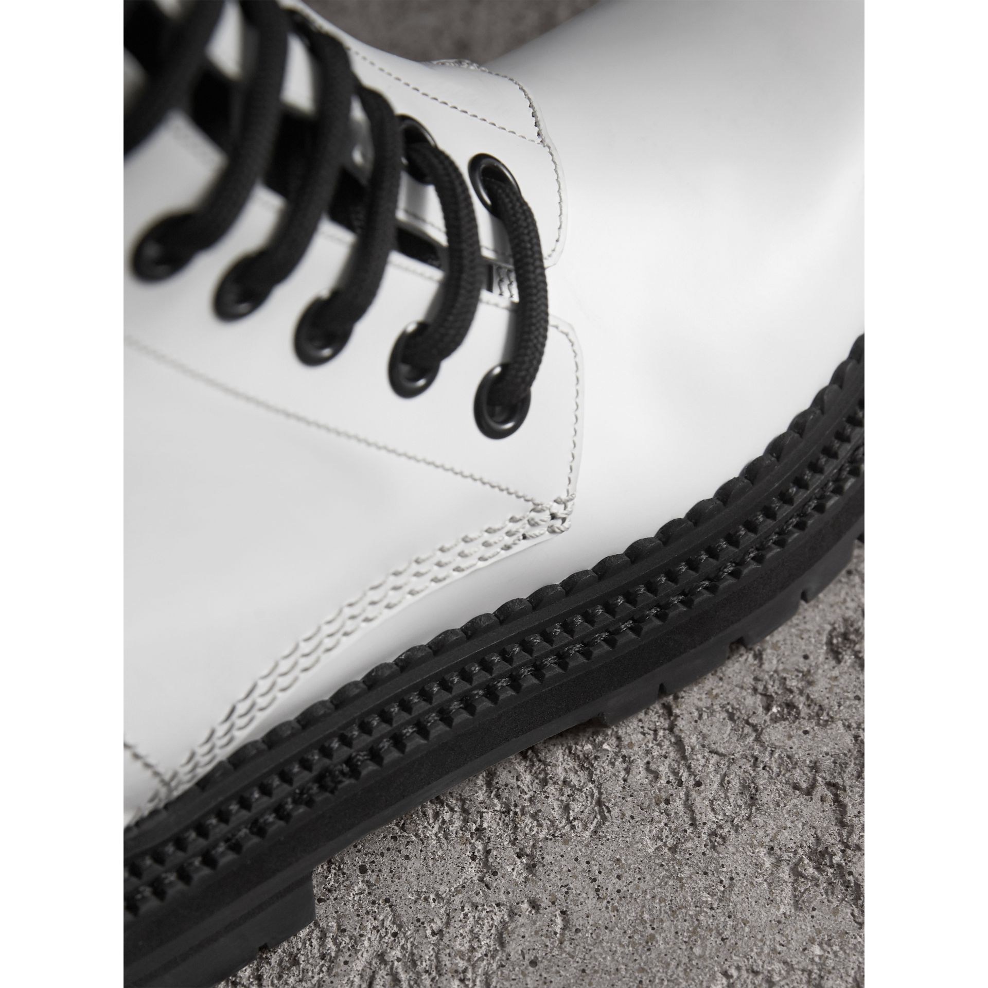 Leather Asymmetric Lace-up Boots in Optic White - Women | Burberry Australia - gallery image 2