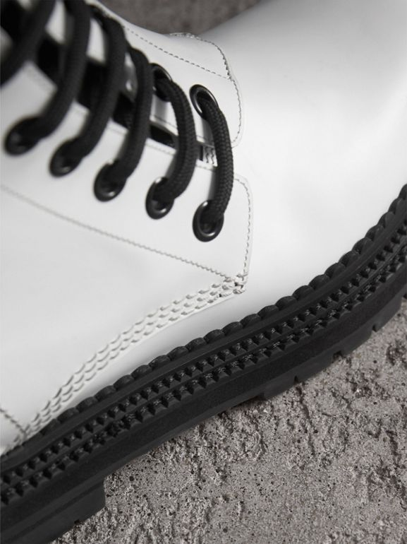 Leather Asymmetric Lace-up Boots in Optic White - Women | Burberry - cell image 1