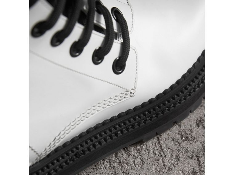 Leather Asymmetric Lace-up Boots in Optic White - Women | Burberry Canada - cell image 1