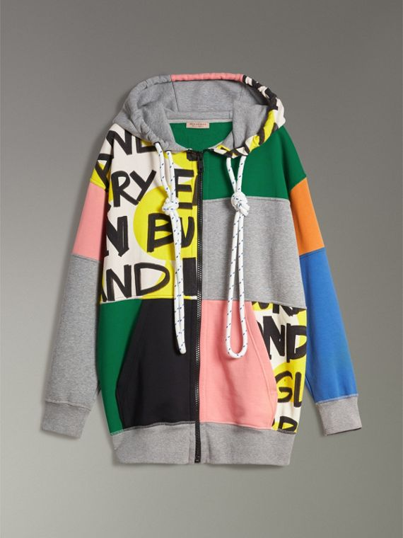 Hooded Zip-front Cotton Blend Patchwork Top in Multicolour - Women | Burberry United Kingdom - cell image 3
