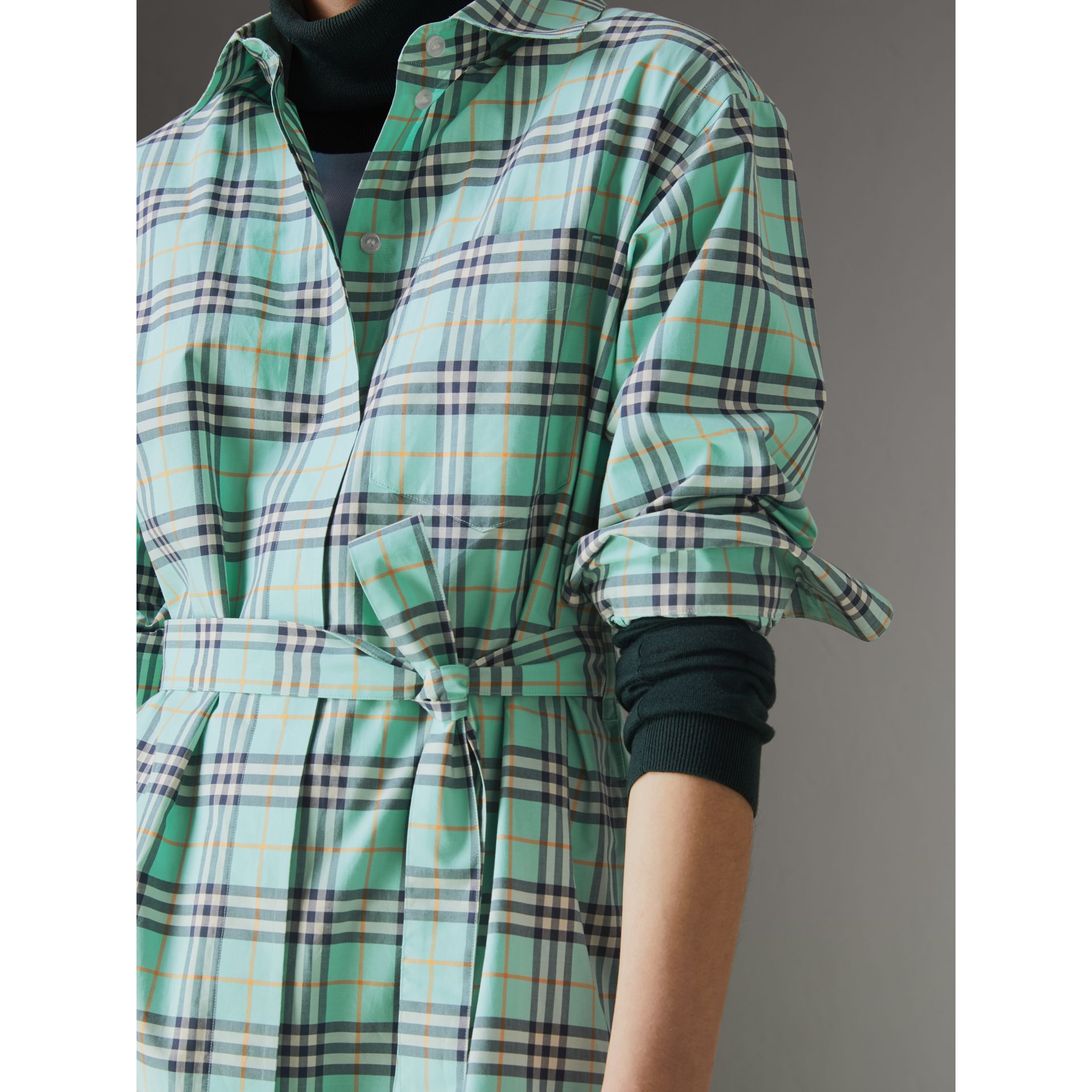 Tie-waist Check Cotton Shirt Dress in Bright Aqua - Women | Burberry - gallery image 1