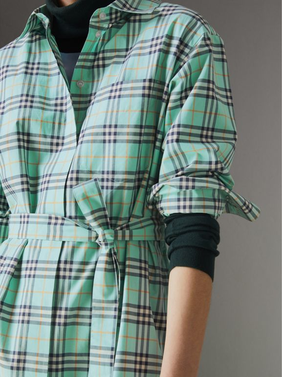 Check Cotton Tie-waist Shirt Dress in Bright Aqua - Women | Burberry - cell image 1