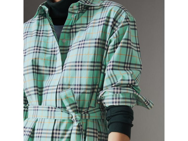 Tie-waist Check Cotton Shirt Dress in Bright Aqua - Women | Burberry - cell image 1