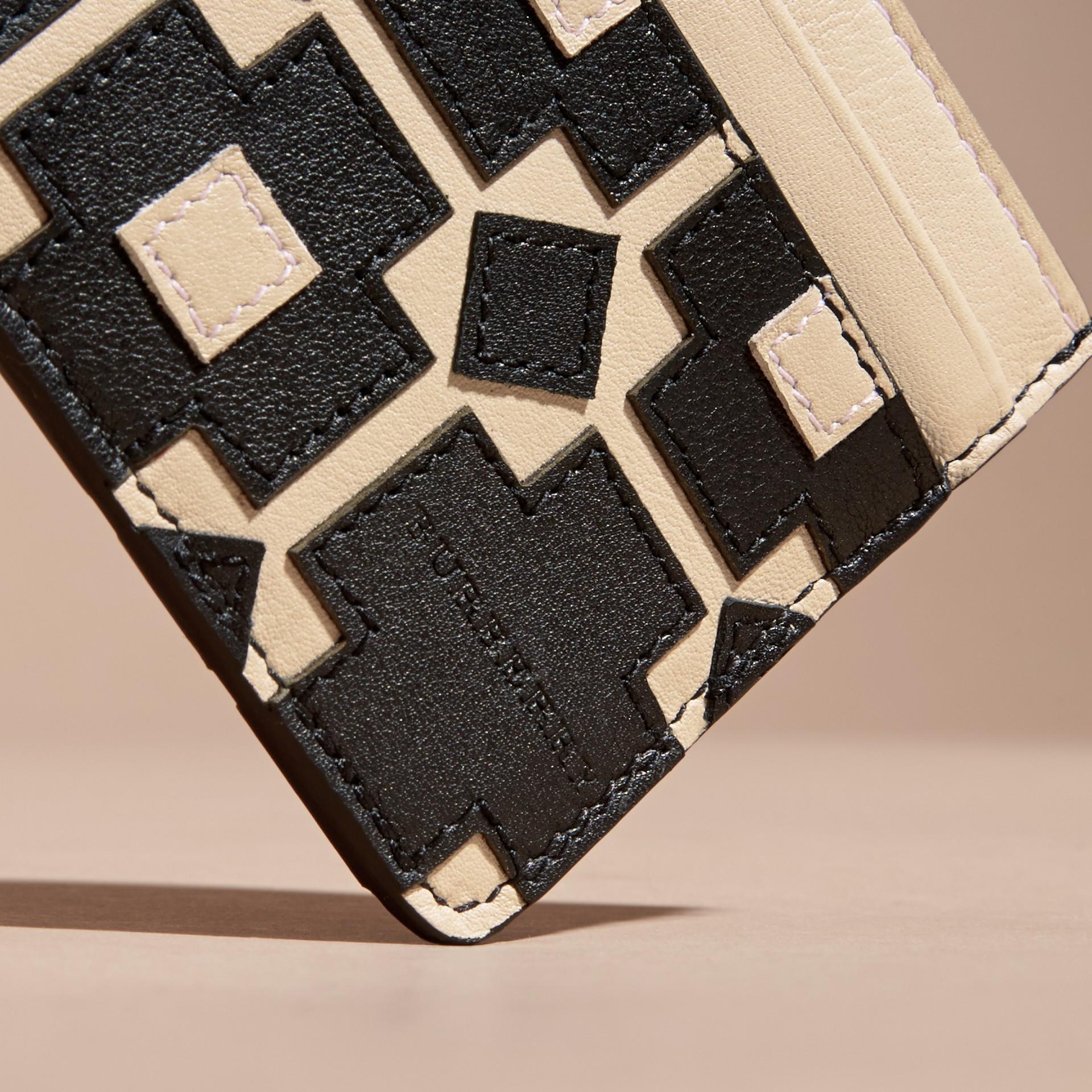 Stone Geometric Appliqué Leather Card Case - gallery image 3
