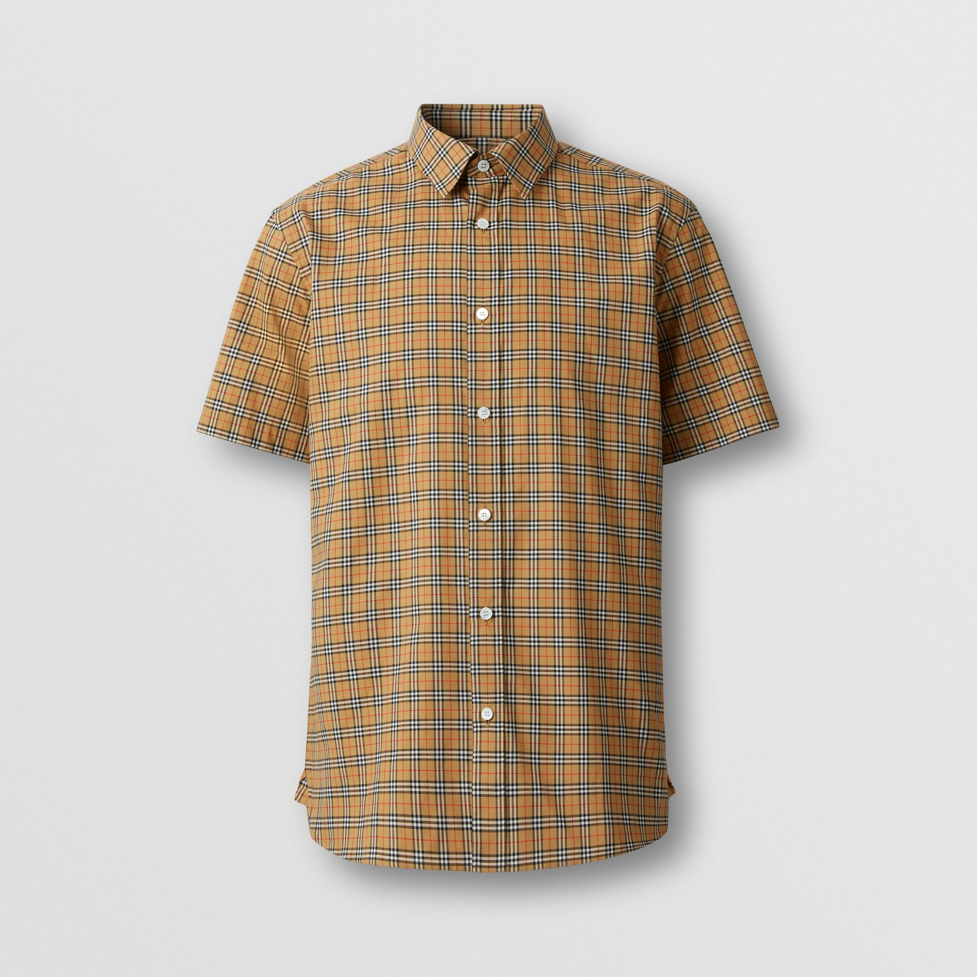 Short-sleeve Check Cotton Shirt in Antique Yellow - Men | Burberry - gallery image 3