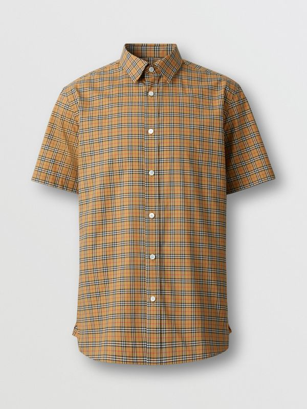 Short-sleeve Check Cotton Shirt in Antique Yellow - Men | Burberry - cell image 3