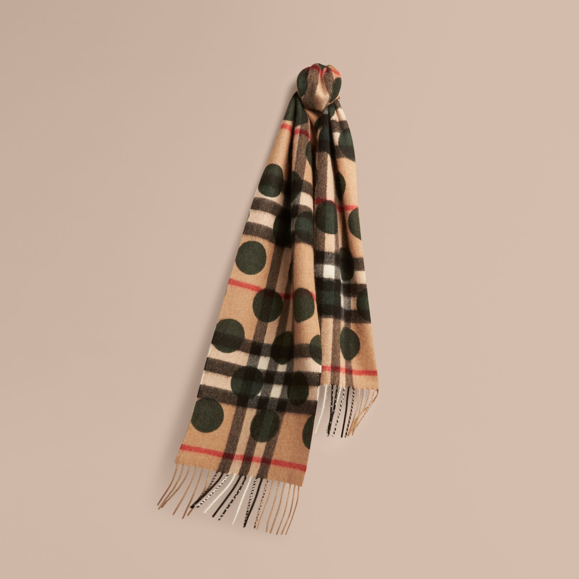Dark forest green The Mini Classic Cashmere Scarf in Check and Dots - gallery image 1