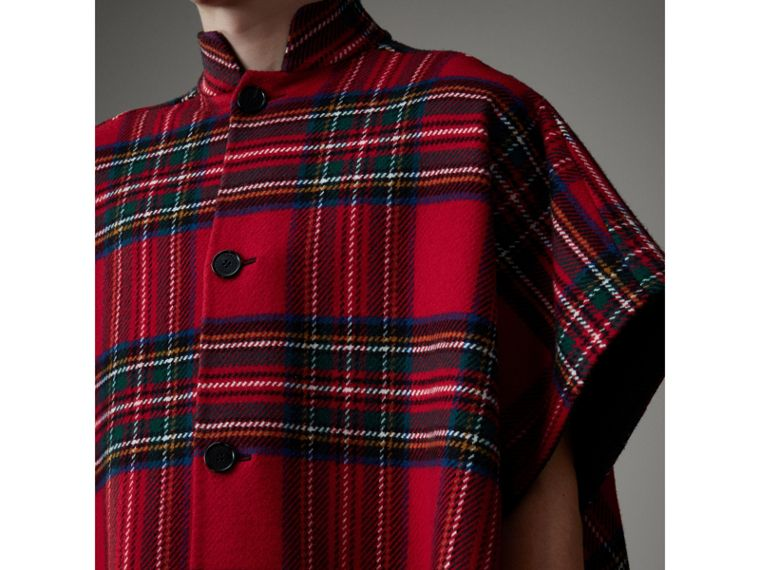 Reversible Tartan Wool Cashmere Poncho in Bright Red/dark Grey - Men | Burberry - cell image 1