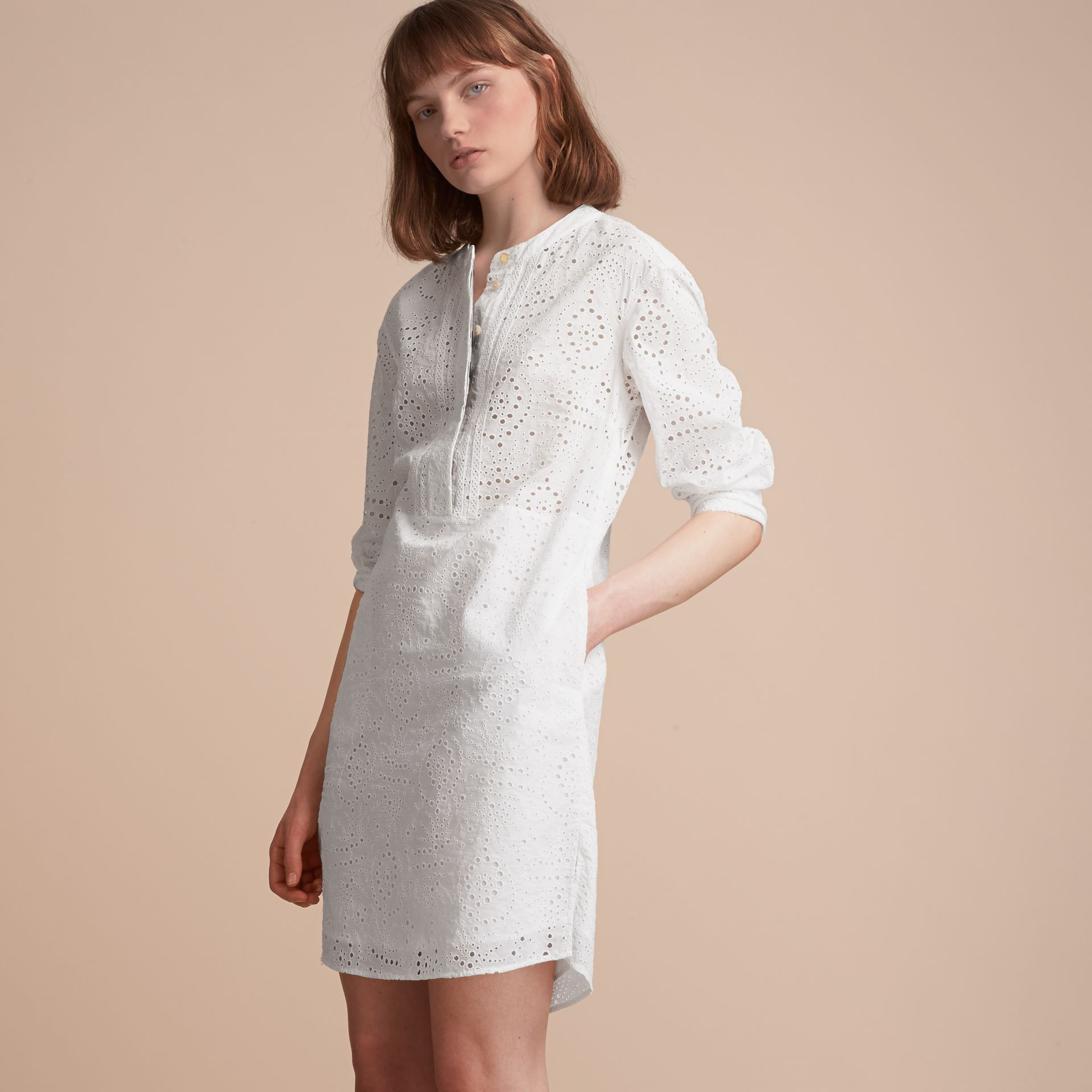 Collarless Broderie Anglaise Shirt Dress - gallery image 6