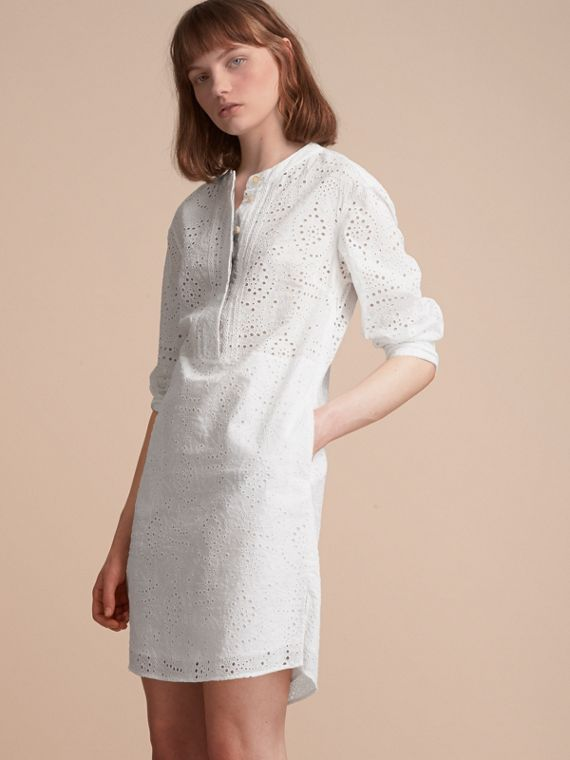 Collarless Broderie Anglaise Shirt Dress