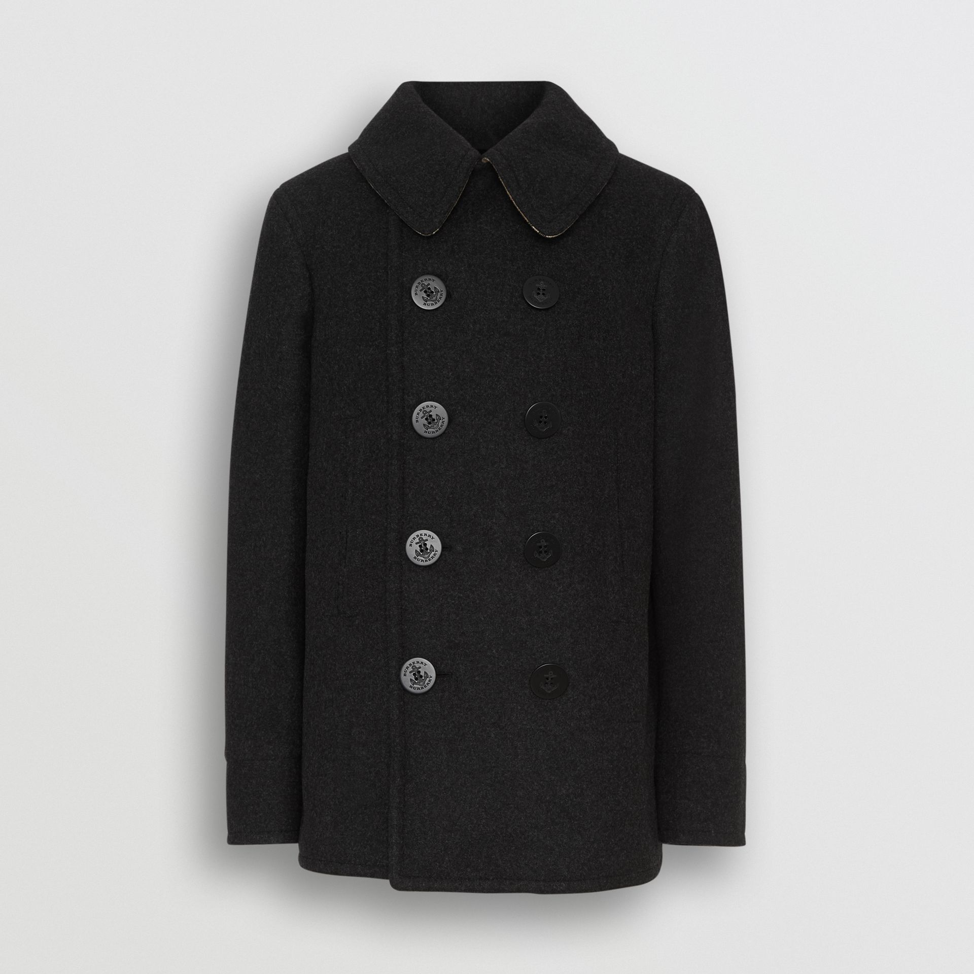 Wool Blend Pea Coat in Dark Charcoal Melange - Men | Burberry United Kingdom - gallery image 3