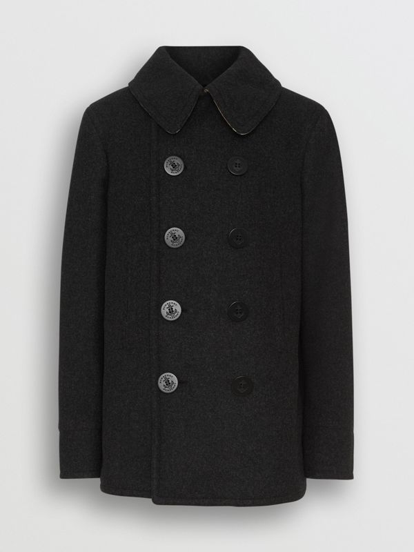 Wool Blend Pea Coat in Dark Charcoal Melange - Men | Burberry United Kingdom - cell image 3