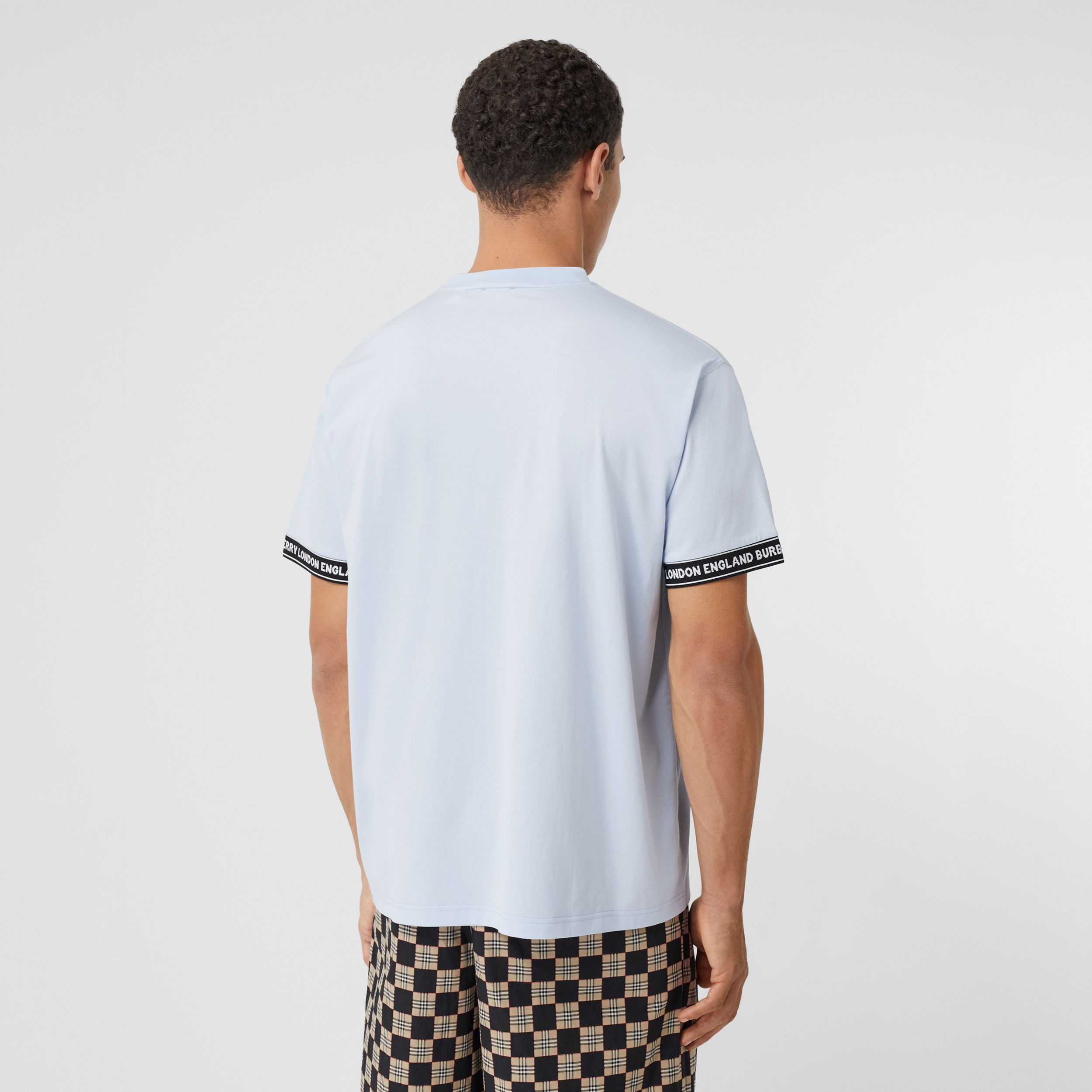 Logo Tape Cotton Oversized T-shirt in Pale Blue - Men | Burberry - 3