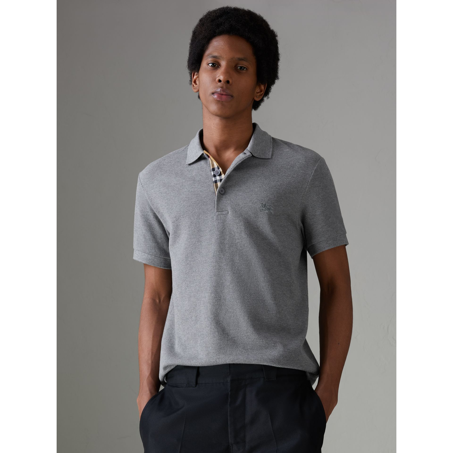 Contrast Collar Cotton Polo Shirt in Mid Grey Melange - Men | Burberry - gallery image 4