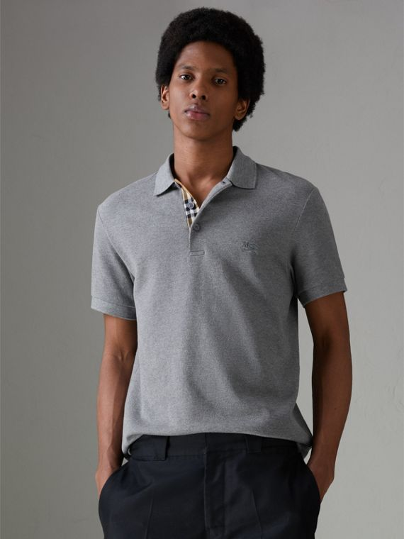 Contrast Collar Cotton Polo Shirt in Mid Grey Melange