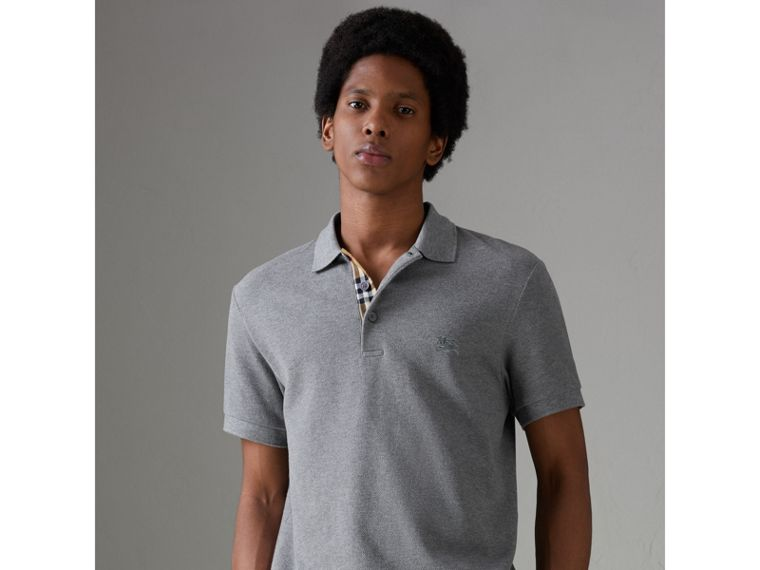 Contrast Collar Cotton Polo Shirt in Mid Grey Melange - Men | Burberry - cell image 4