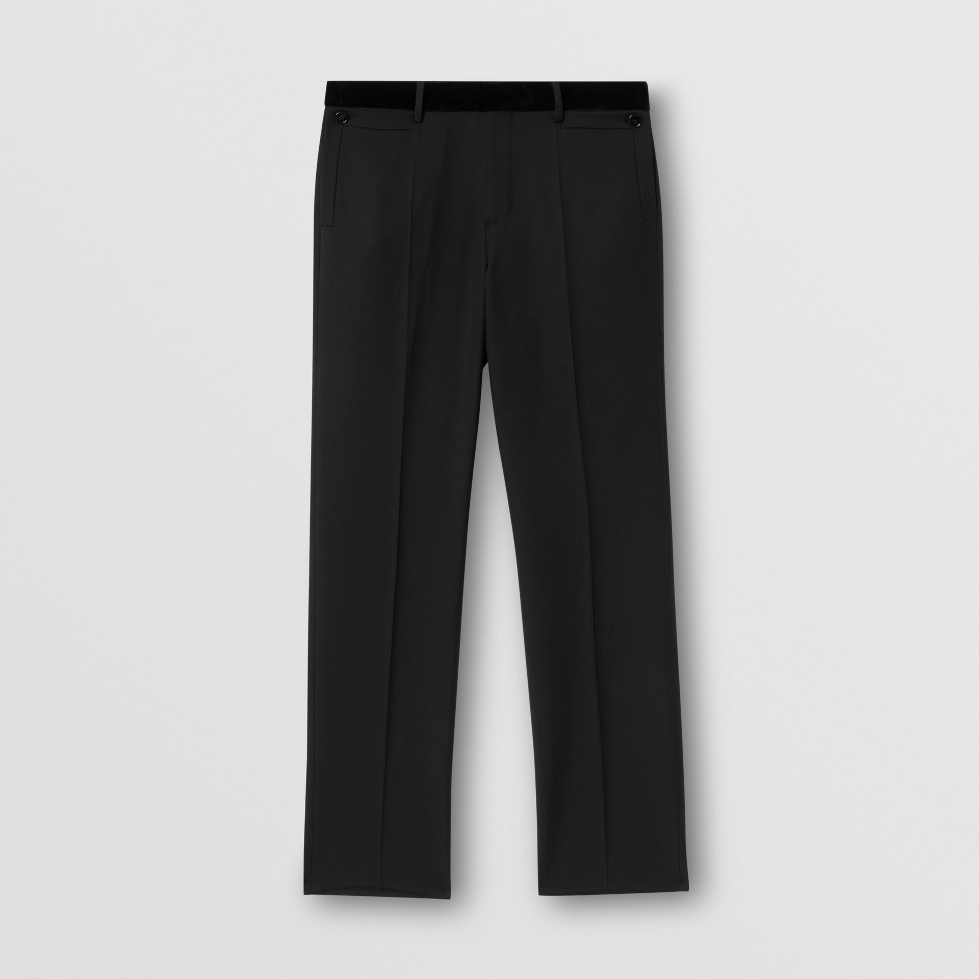 Velvet Trim Wool Tailored Trousers in Black - Men | Burberry United States - gallery image 3