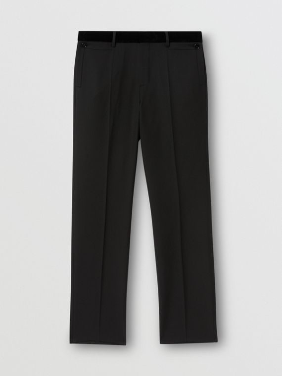 Velvet Trim Wool Tailored Trousers in Black