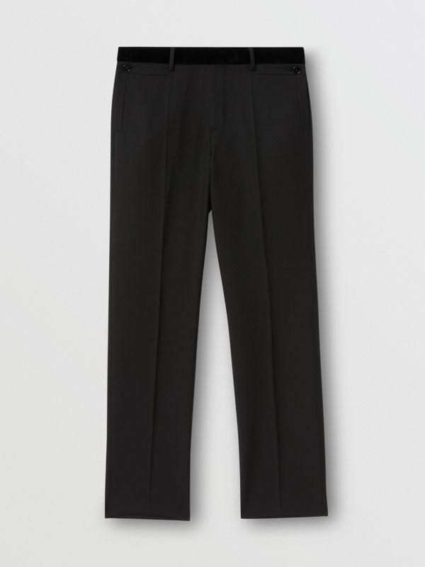 Velvet Trim Wool Tailored Trousers in Black - Men | Burberry United States - cell image 3