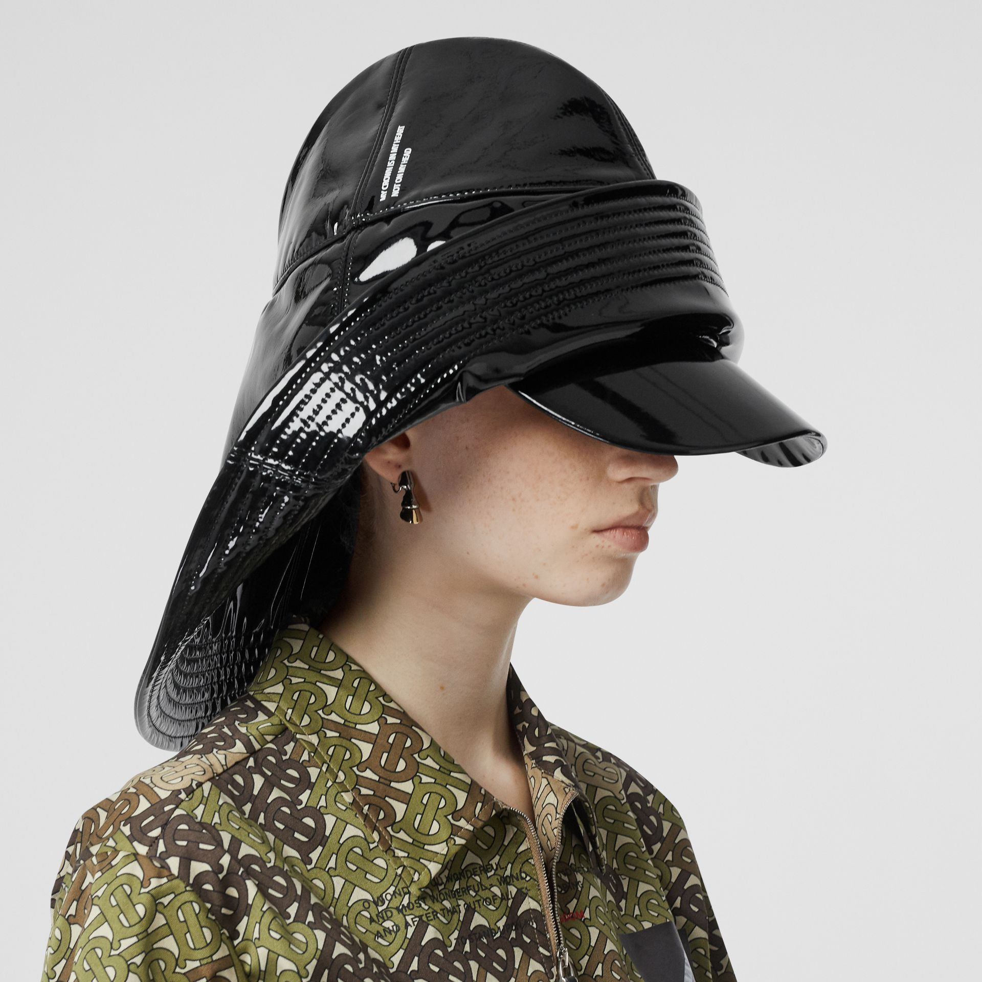 Logo Print Rain Hat in Black | Burberry Australia - gallery image 2