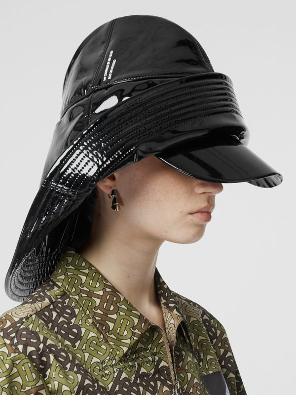 Logo Print Rain Hat in Black | Burberry Australia - cell image 2