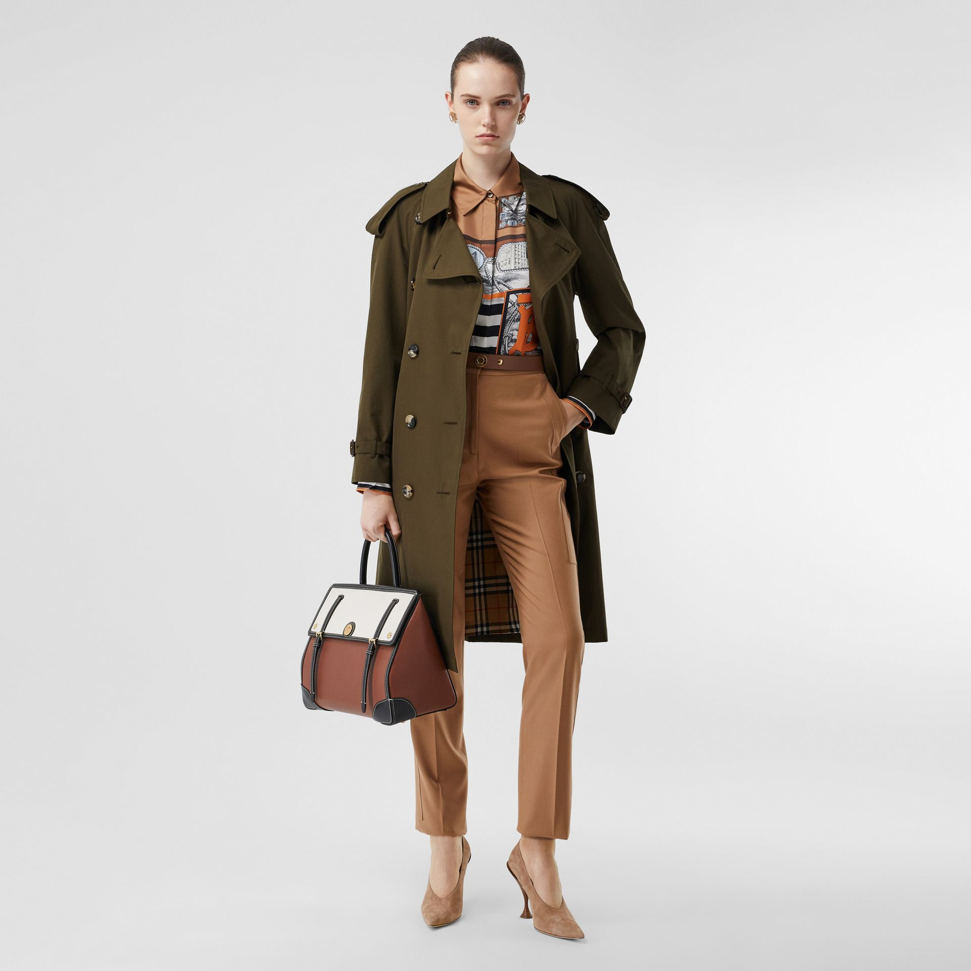 Tropical Gabardine Mid-length Trench Coat in Dark Military Khaki - Women | Burberry - gallery image 2