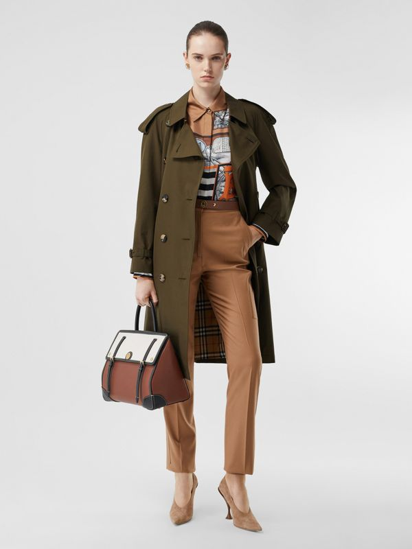 Tropical Gabardine Mid-length Trench Coat in Dark Military Khaki - Women | Burberry - cell image 2