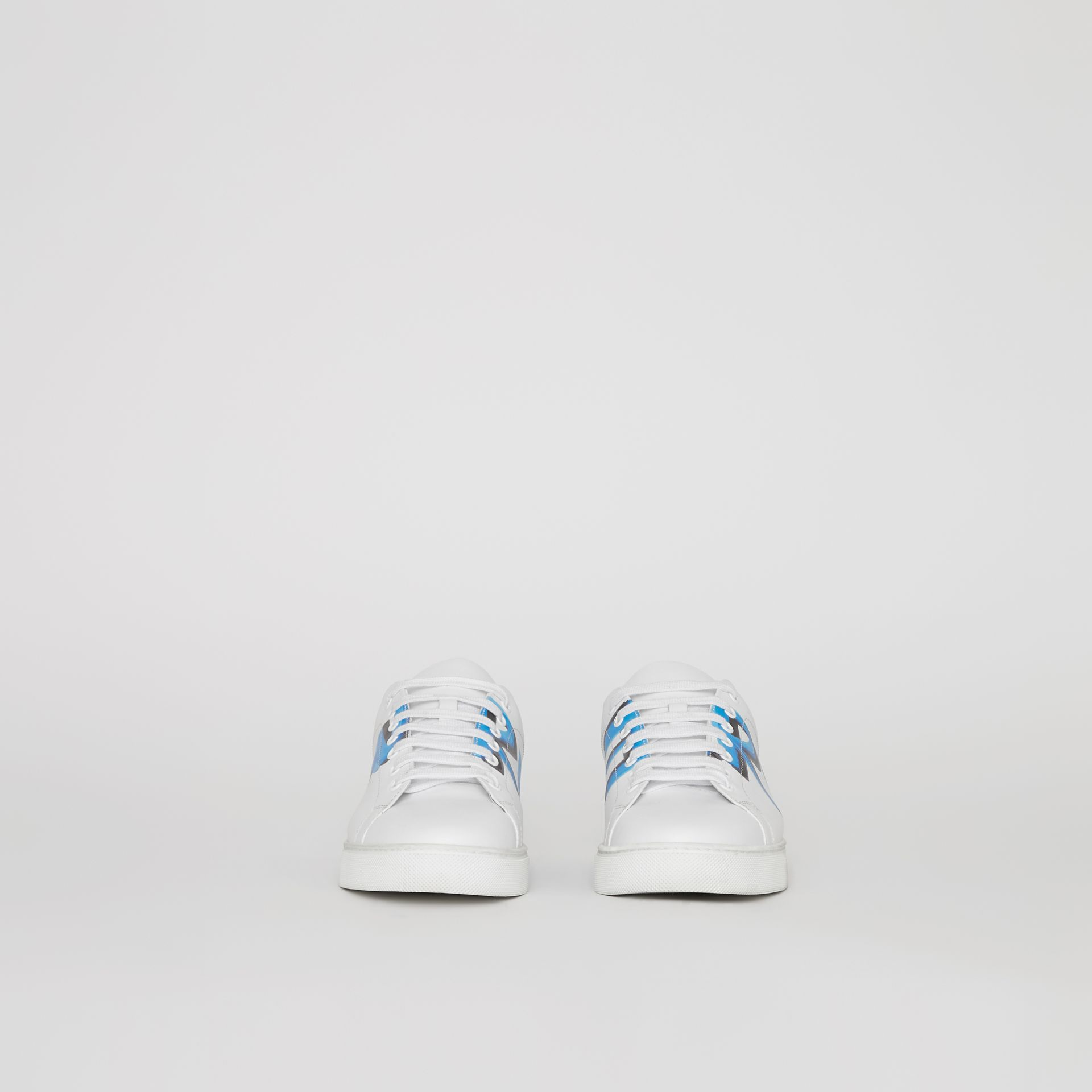 Logo Print Leather Sneakers in Optic White/bright Sky Blue - Men | Burberry Hong Kong - gallery image 5