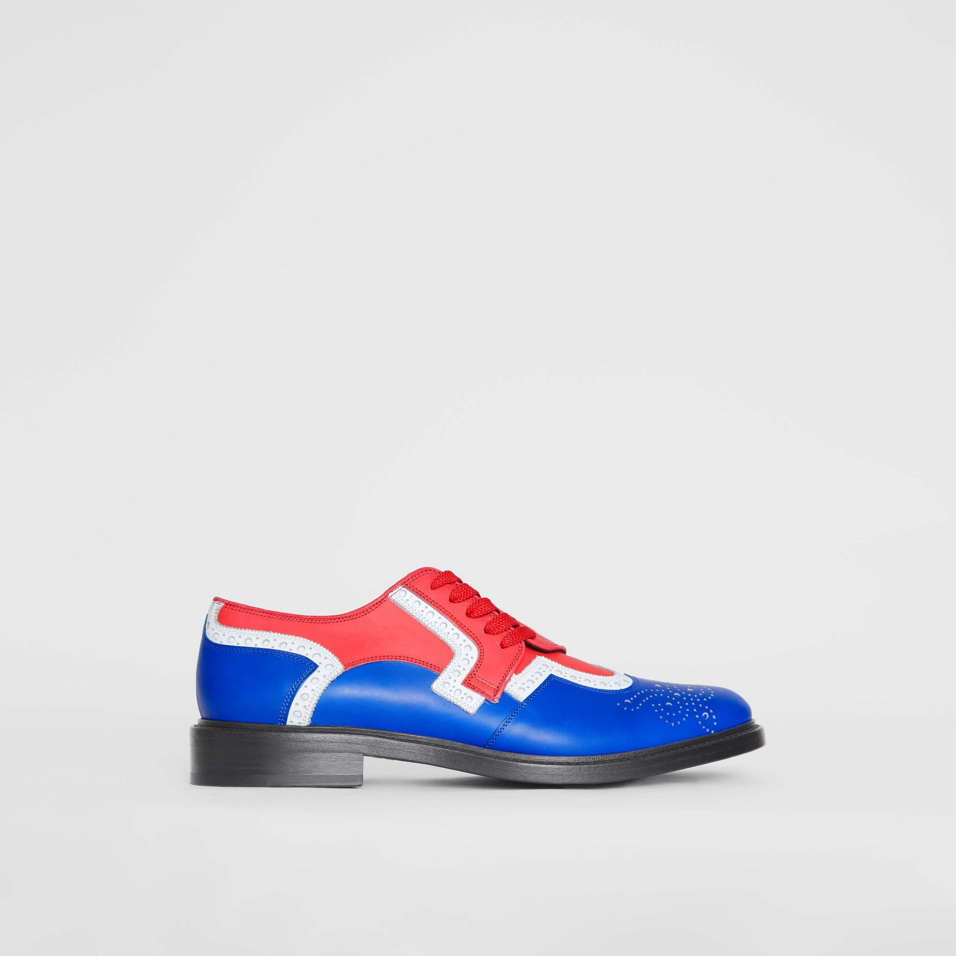 Asymmetric Closure Tri-tone Leather Brogues in Blue/red - Men | Burberry - gallery image 5
