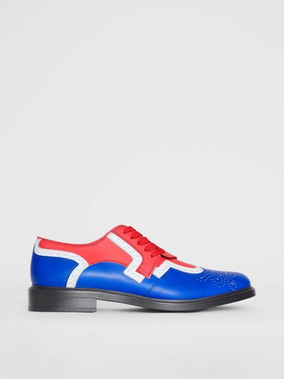 Asymmetric Closure Tri-tone Leather Brogues in Blue/red