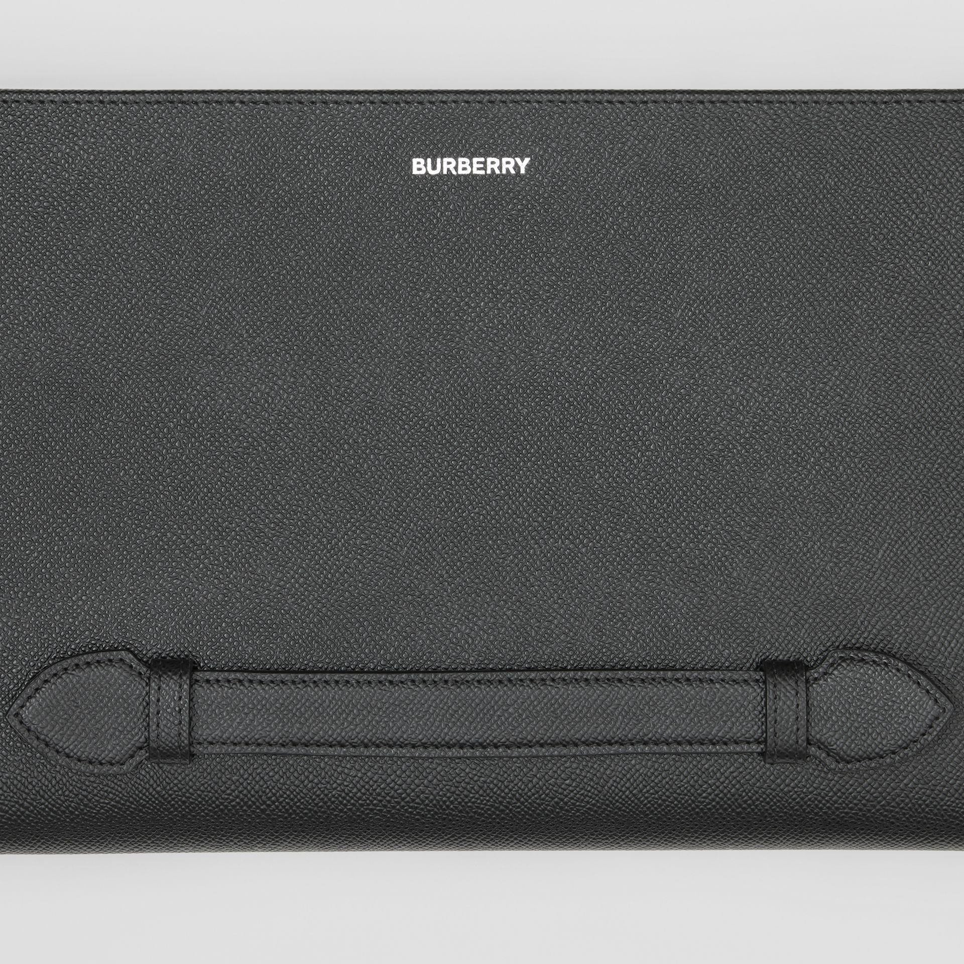 Grainy Leather Ziparound Pouch in Black | Burberry - gallery image 1