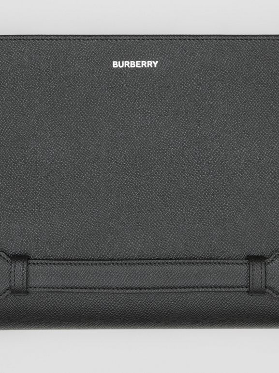 Grainy Leather Ziparound Pouch in Black | Burberry - cell image 1
