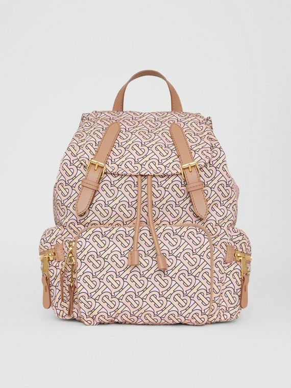 The Medium Rucksack in Monogram Print Nylon in Blush