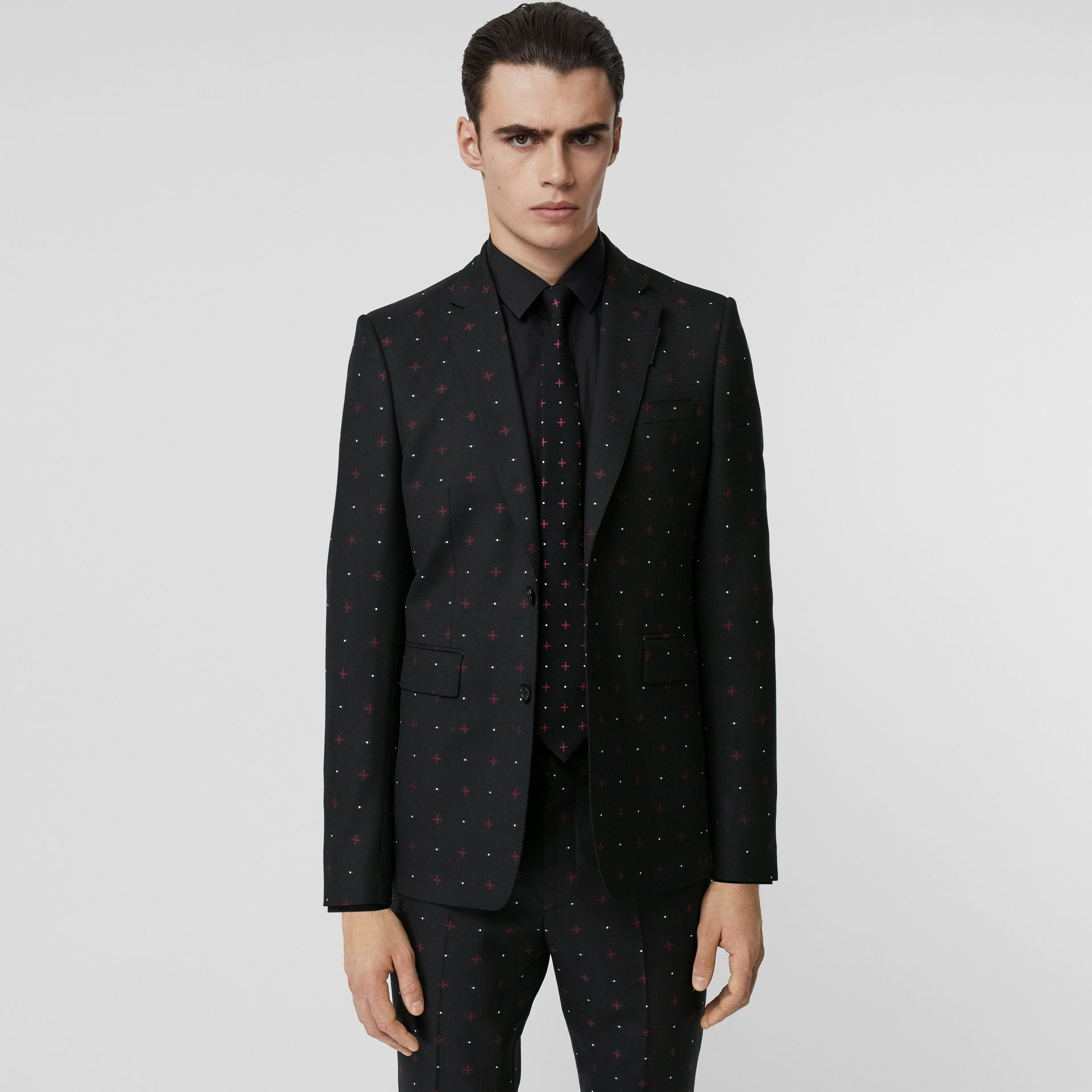 English Fit Fil Coupé Wool Cotton Tailored Jacket in Black - Men | Burberry - gallery image 4