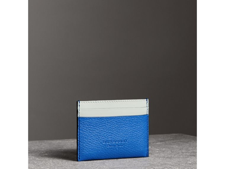 Two-tone Leather Card Case in Hydrangea Blue | Burberry - cell image 4
