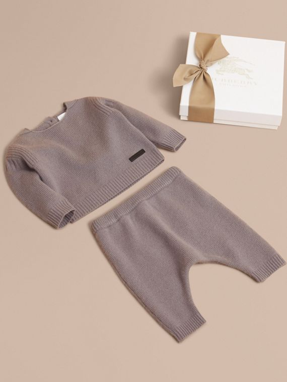 Cashmere Two-piece Baby Gift Set in Storm Grey | Burberry Singapore