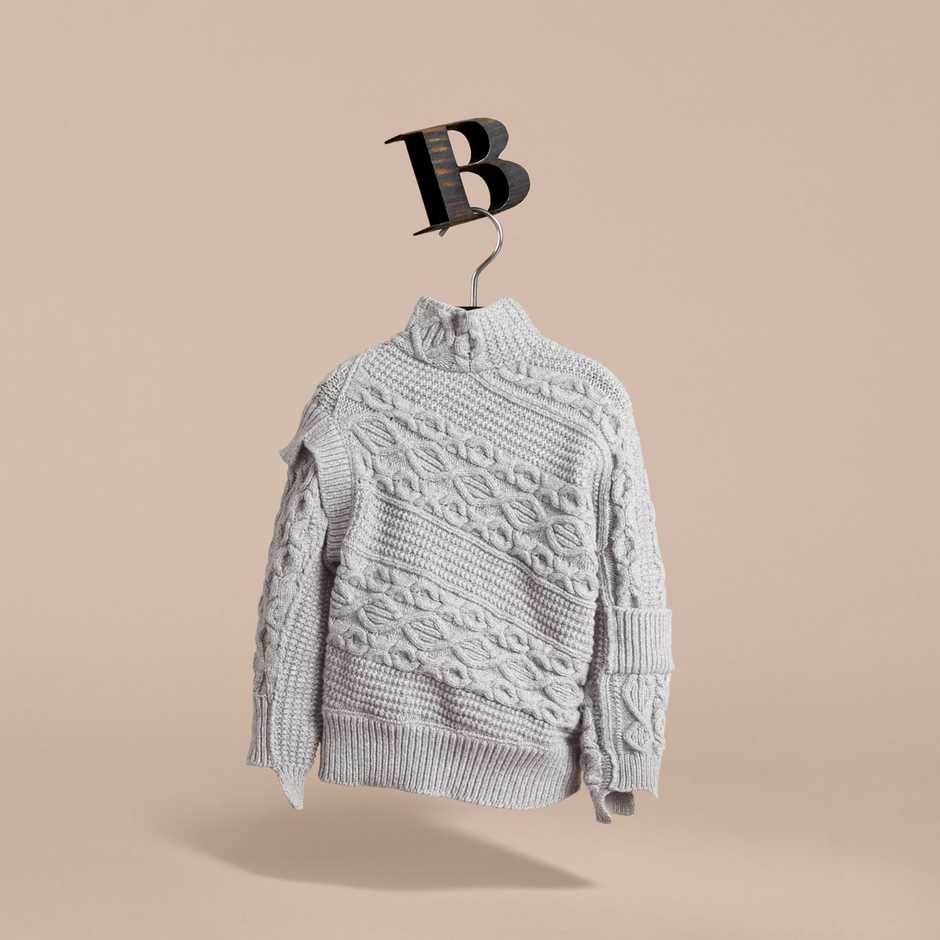 Cable and Rib Knit Collage Cotton Blend Sweater in Pale Grey Melange - Boy | Burberry - gallery image 3