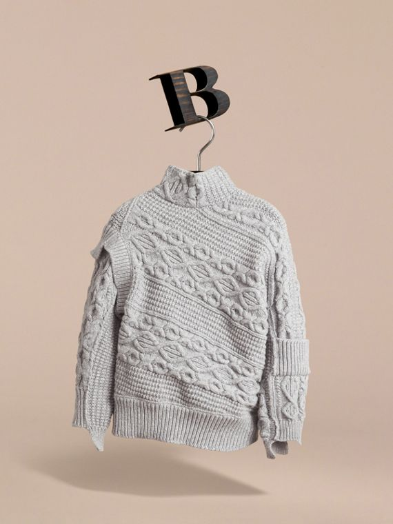Cable and Rib Knit Collage Cotton Blend Sweater in Pale Grey Melange - Boy | Burberry - cell image 2